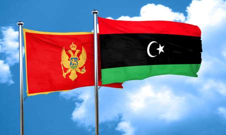 montenegro: Montenegro flag with Libya flag, 3D rendering