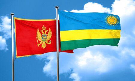 rwanda: Montenegro flag with rwanda flag, 3D rendering Stock Photo