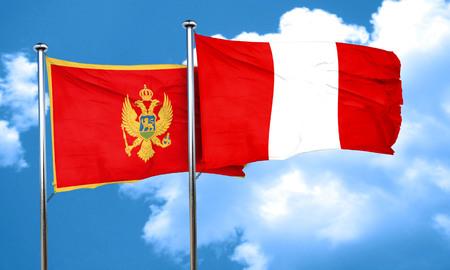 bandera de peru: bandera de Montenegro con la bandera de Perú, 3D Foto de archivo