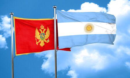 montenegro: Montenegro flag with Argentine flag, 3D rendering
