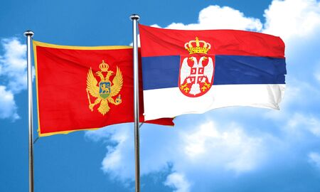 serbia and montenegro: Montenegro flag with Serbia flag, 3D rendering