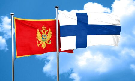 finland: Montenegro flag with Finland flag, 3D rendering Stock Photo