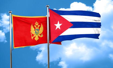 bandera cuba: bandera de Montenegro con la bandera de Cuba, 3D Foto de archivo