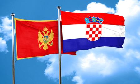 bandera croacia: bandera de Montenegro con la bandera de Croacia, 3D Foto de archivo