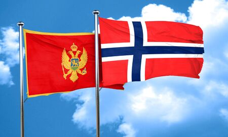 norway flag: Montenegro flag with Norway flag, 3D rendering Stock Photo