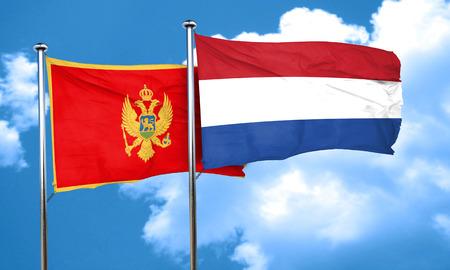 netherlands flag: Montenegro flag with Netherlands flag, 3D rendering Stock Photo