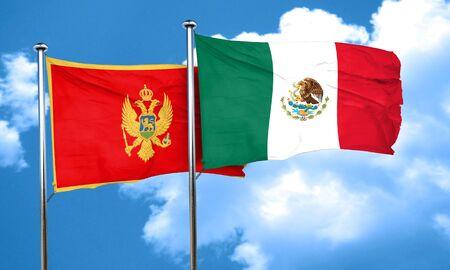 montenegro: Montenegro flag with Mexico flag, 3D rendering