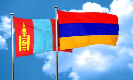 armenia: Mongolia flag with Armenia flag, 3D rendering Stock Photo