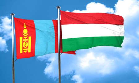 mongolia: Mongolia flag with Hungary flag, 3D rendering