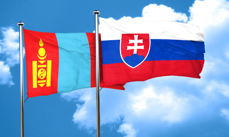 slovakia flag: Mongolia flag with Slovakia flag, 3D rendering Stock Photo