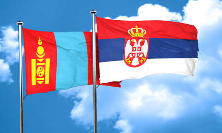 serbia flag: Mongolia flag with Serbia flag, 3D rendering Stock Photo