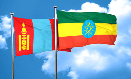 mongolia: Mongolia flag with Ethiopia flag, 3D rendering