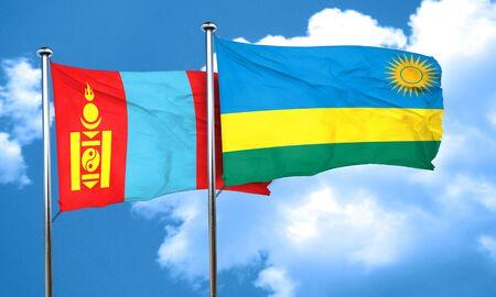 rwanda: Mongolia flag with rwanda flag, 3D rendering