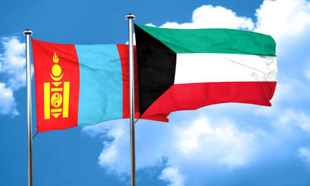 mongolia: Mongolia flag with Kuwait flag, 3D rendering