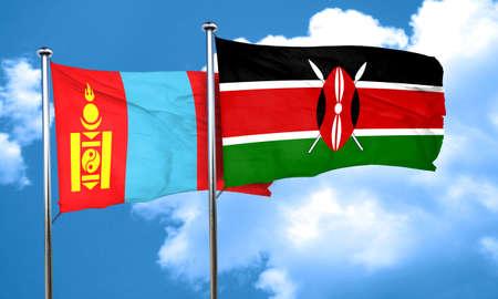 kenya: Mongolia flag with Kenya flag, 3D rendering