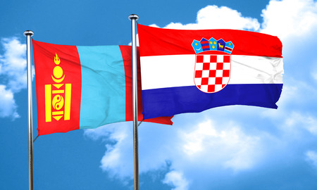 croatia flag: Mongolia flag with Croatia flag, 3D rendering