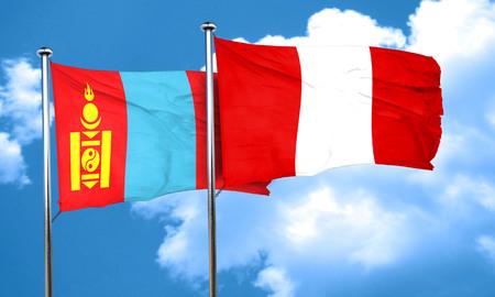 bandera de peru: Bandera de Mongolia, con el indicador de Perú, 3D