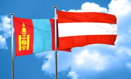 austria flag: Mongolia flag with Austria flag, 3D rendering
