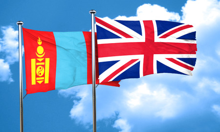 great britain flag: Mongolia flag with Great Britain flag, 3D rendering