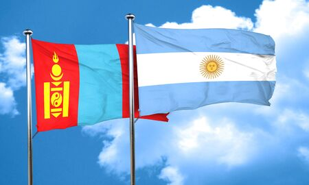 argentine: Mongolia flag with Argentine flag, 3D rendering Stock Photo
