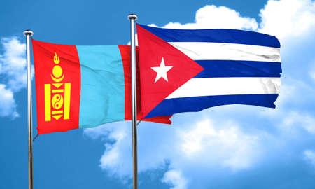 cuba flag: Mongolia flag with cuba flag, 3D rendering