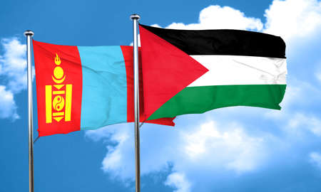 palestine: Mongolia flag with Palestine flag, 3D rendering Stock Photo