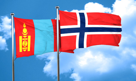 norway flag: Mongolia flag with Norway flag, 3D rendering