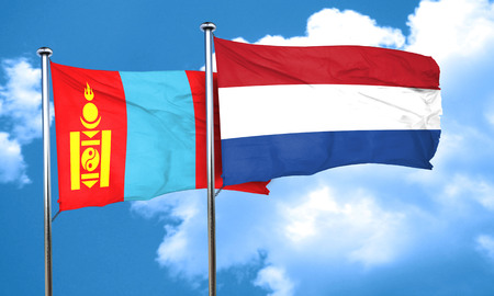 netherlands flag: Mongolia flag with Netherlands flag, 3D rendering