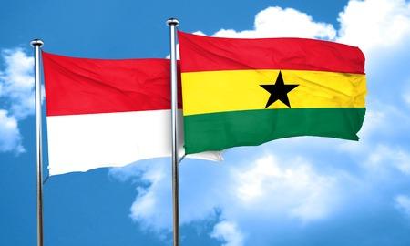 ghanese: monaco flag with Ghana flag, 3D rendering