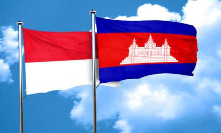 cambodia: monaco flag with Cambodia flag, 3D rendering Stock Photo