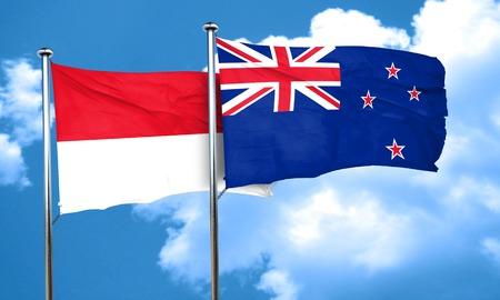 monaco: monaco flag with New Zealand flag, 3D rendering Stock Photo