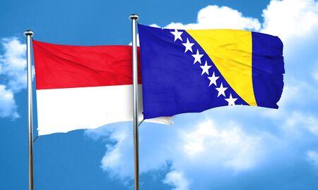 bosnia and  herzegovina: monaco flag with Bosnia and Herzegovina flag, 3D rendering Stock Photo