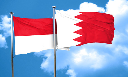 bahrain: monaco flag with Bahrain flag, 3D rendering Stock Photo