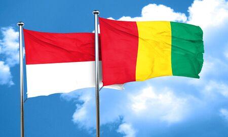 guinea: monaco flag with Guinea flag, 3D rendering