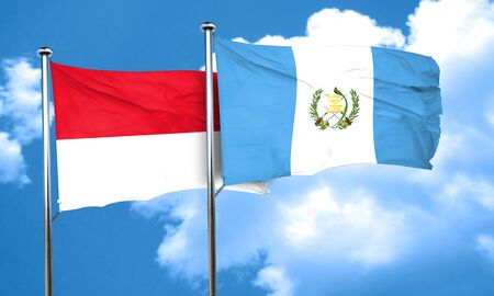 monaco: monaco flag with Guatemala flag, 3D rendering Stock Photo