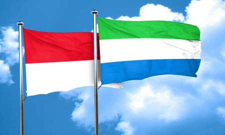 sierra: monaco flag with Sierra Leone flag, 3D rendering Stock Photo