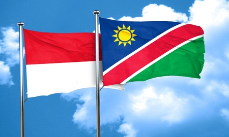 namibia: monaco flag with Namibia flag, 3D rendering
