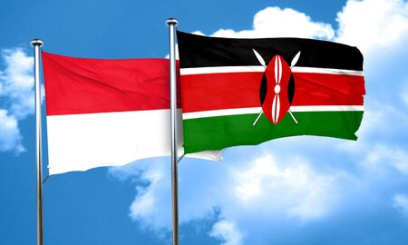 kenya: monaco flag with Kenya flag, 3D rendering