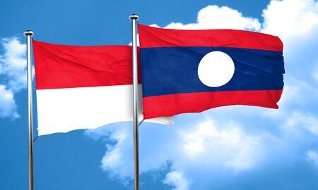 laos: monaco flag with Laos flag, 3D rendering