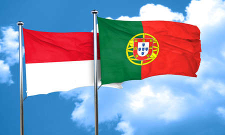 portugal flag: monaco flag with Portugal flag, 3D rendering Stock Photo