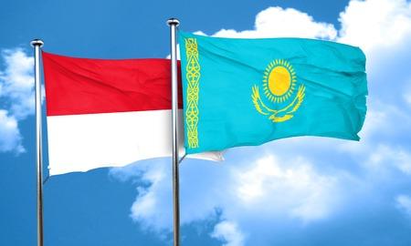 monaco: monaco flag with Kazakhstan flag, 3D rendering