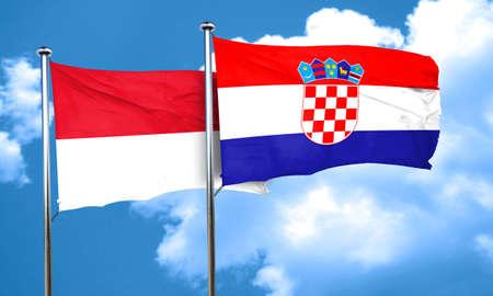 croatia flag: monaco flag with Croatia flag, 3D rendering Stock Photo