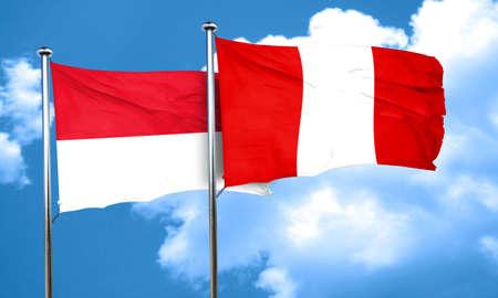 bandera de peru: Bandera de Mónaco con la bandera de Perú, 3D