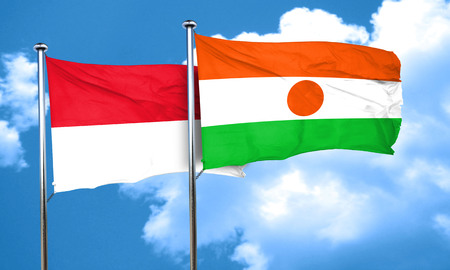 niger: monaco flag with Niger flag, 3D rendering