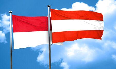 monaco: monaco flag with Austria flag, 3D rendering Stock Photo