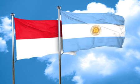 argentine: monaco flag with Argentine flag, 3D rendering