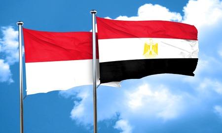 bandera egipto: bandera de M�naco con la bandera de Egipto, 3D