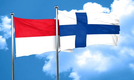FINLAND flag: monaco flag with Finland flag, 3D rendering