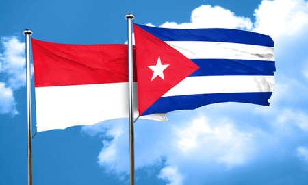 cuba flag: monaco flag with cuba flag, 3D rendering Stock Photo