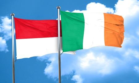 bandera de irlanda: monaco flag with Ireland flag, 3D rendering